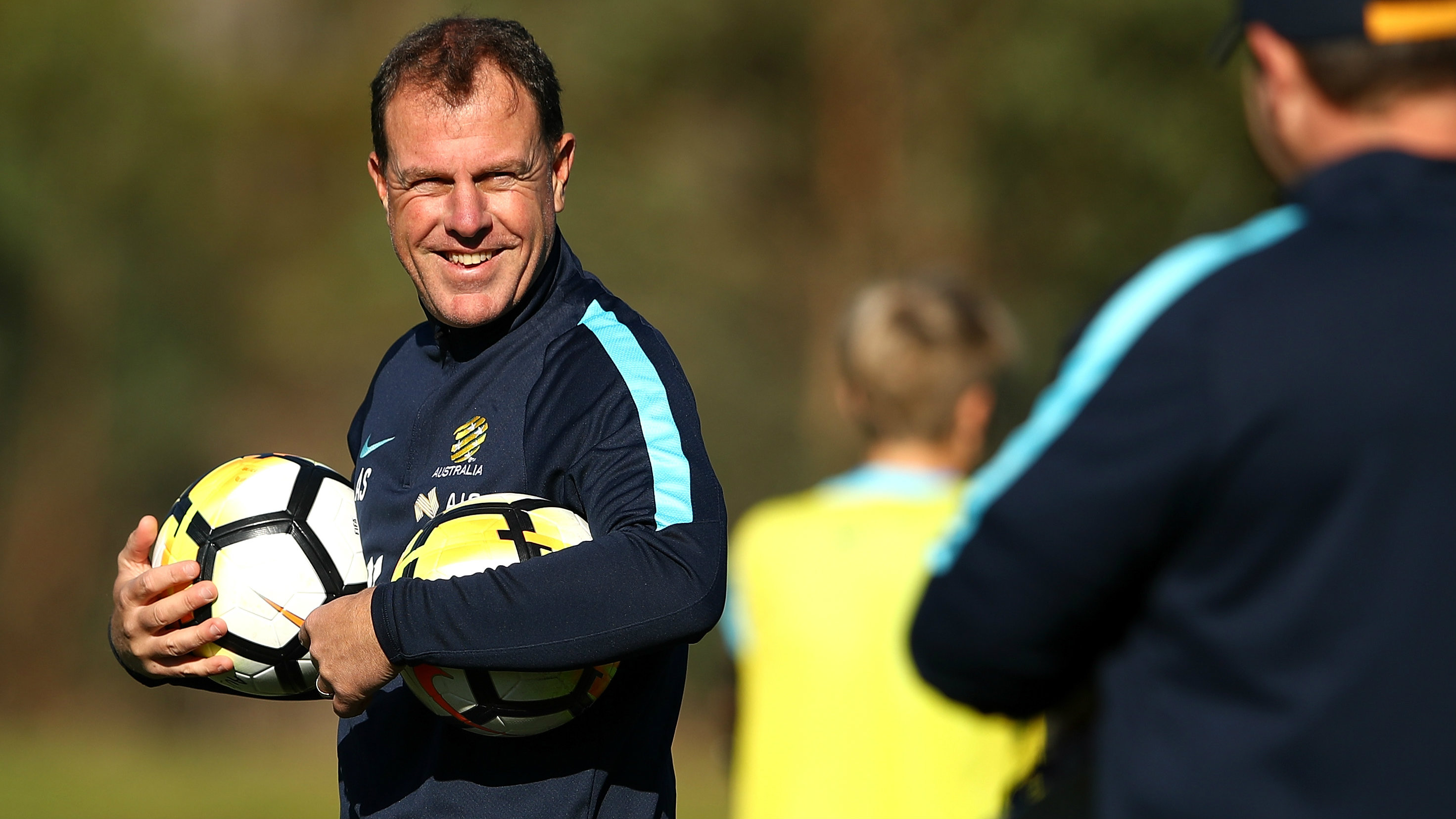 Westfield Matildas boss Alen Stajcic runs his eye over a training session in Sydney.