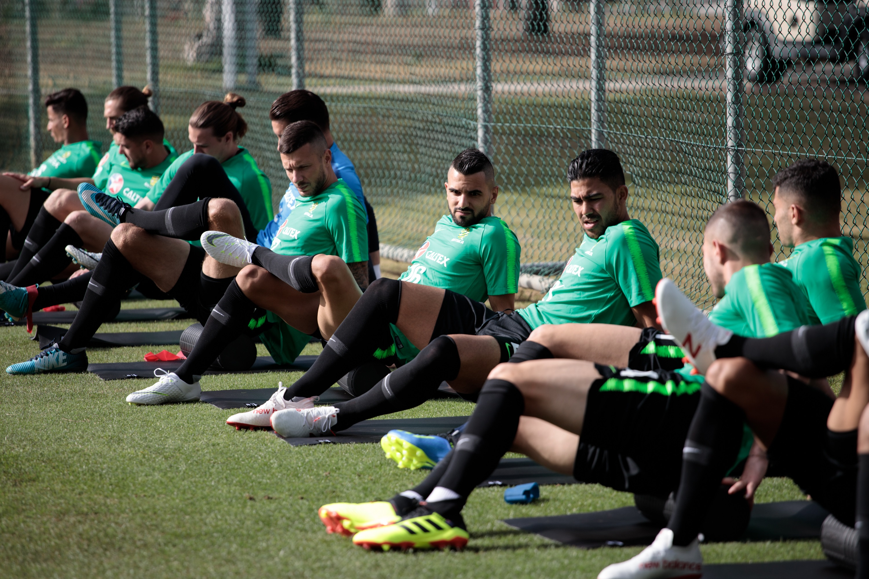Socceroos players before training