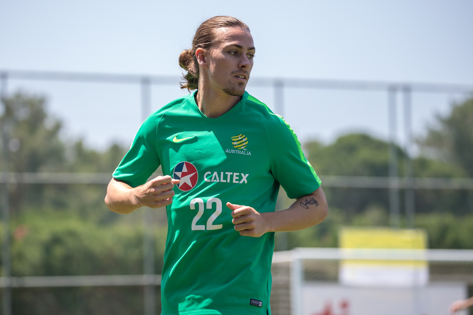 Jackson Irvine as the team goes through the warm up