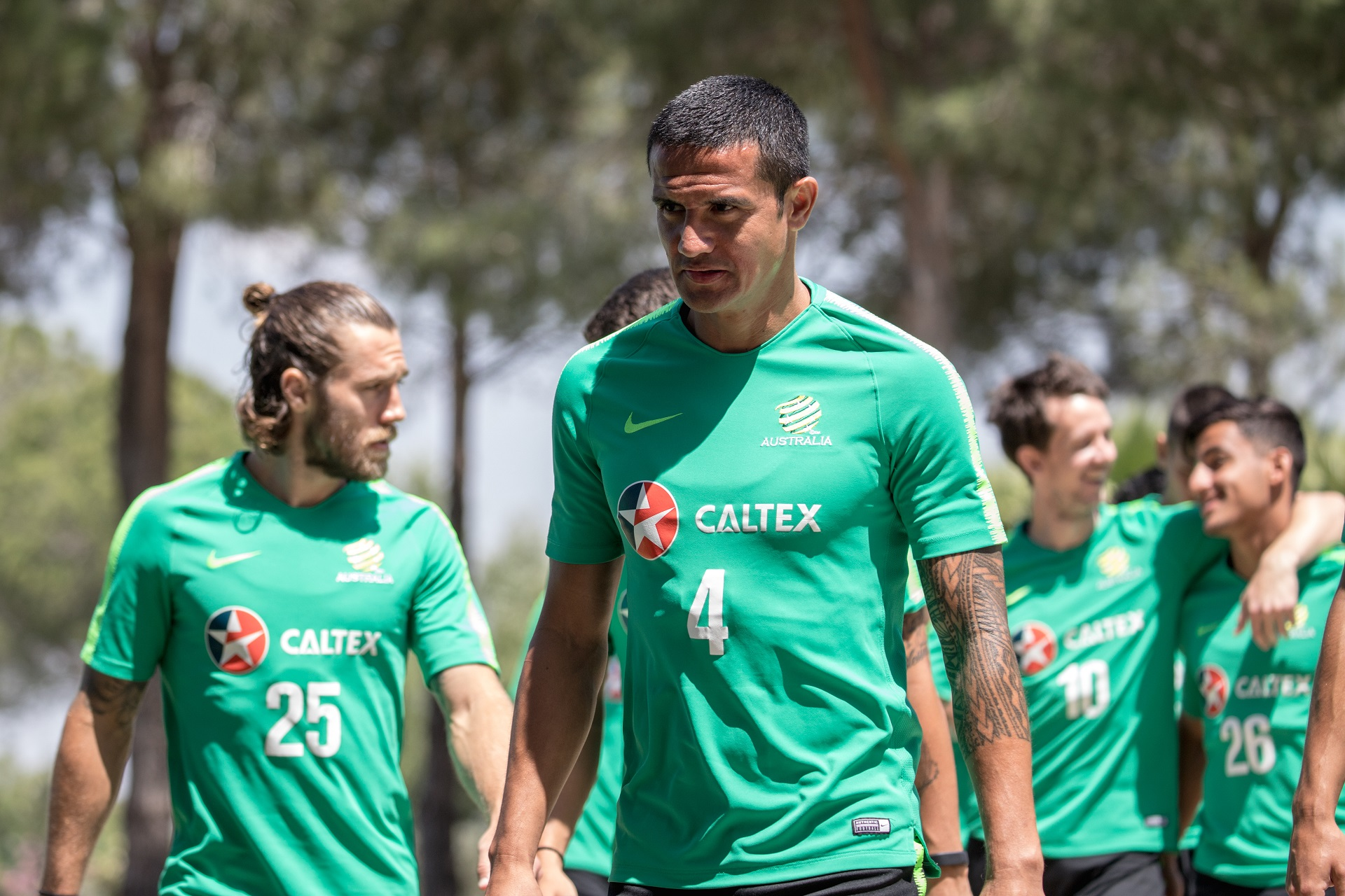 Tim Cahill walks out onto the training pitch
