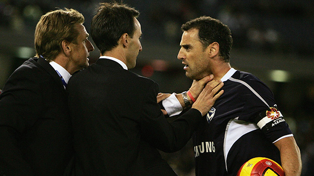 Reds coach John Kosmina and Victory defender Kevin Muscat clashed in 2006.