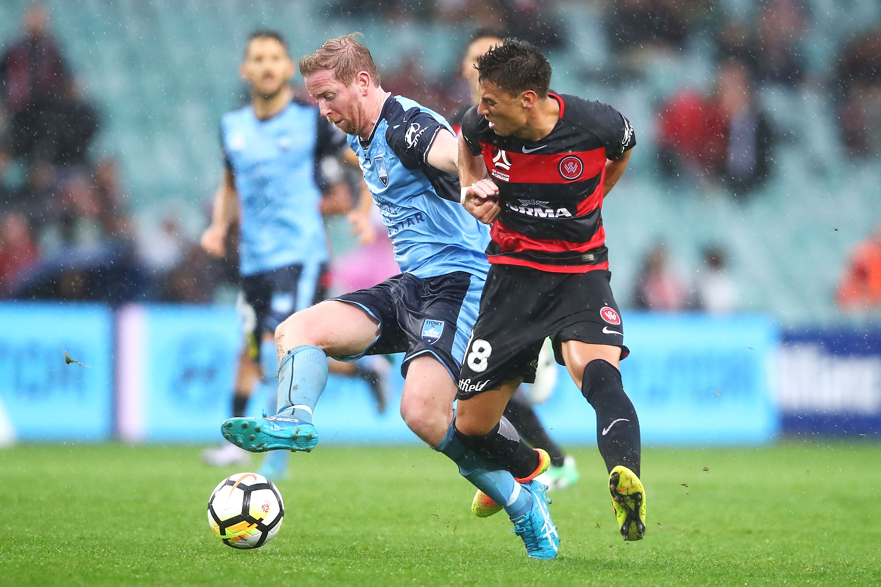 Chris Ikonomidis in action for the Wanderers.