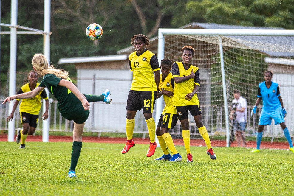 Action from the Westfield Junior Matildas clash with Vanuatu (Pic by Joseph Mayers)