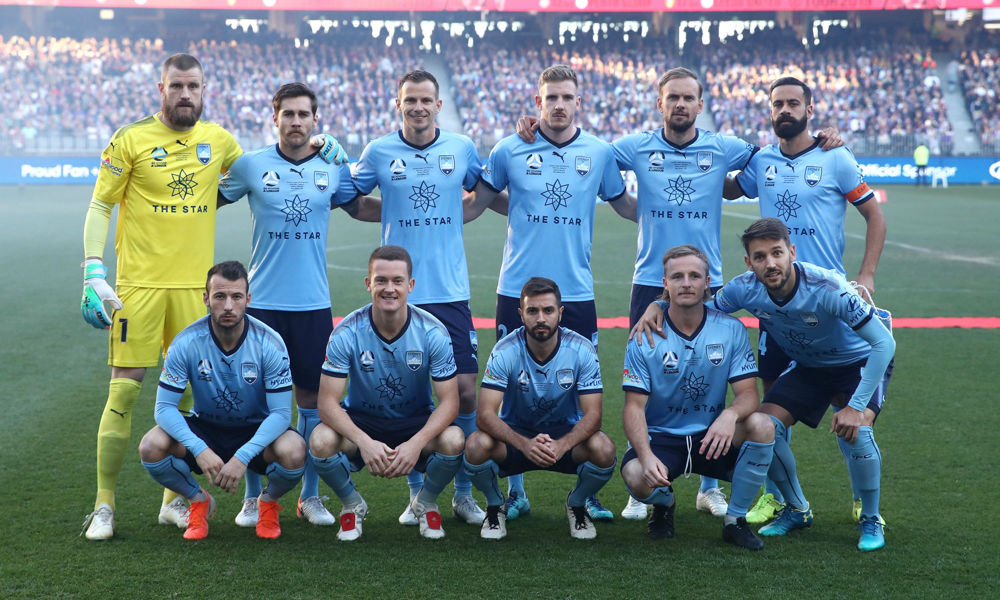 Rhyan Grant and Andrew Redmayne line up for Sydney FC in the Hyundai A-League Grand Final 2018/19