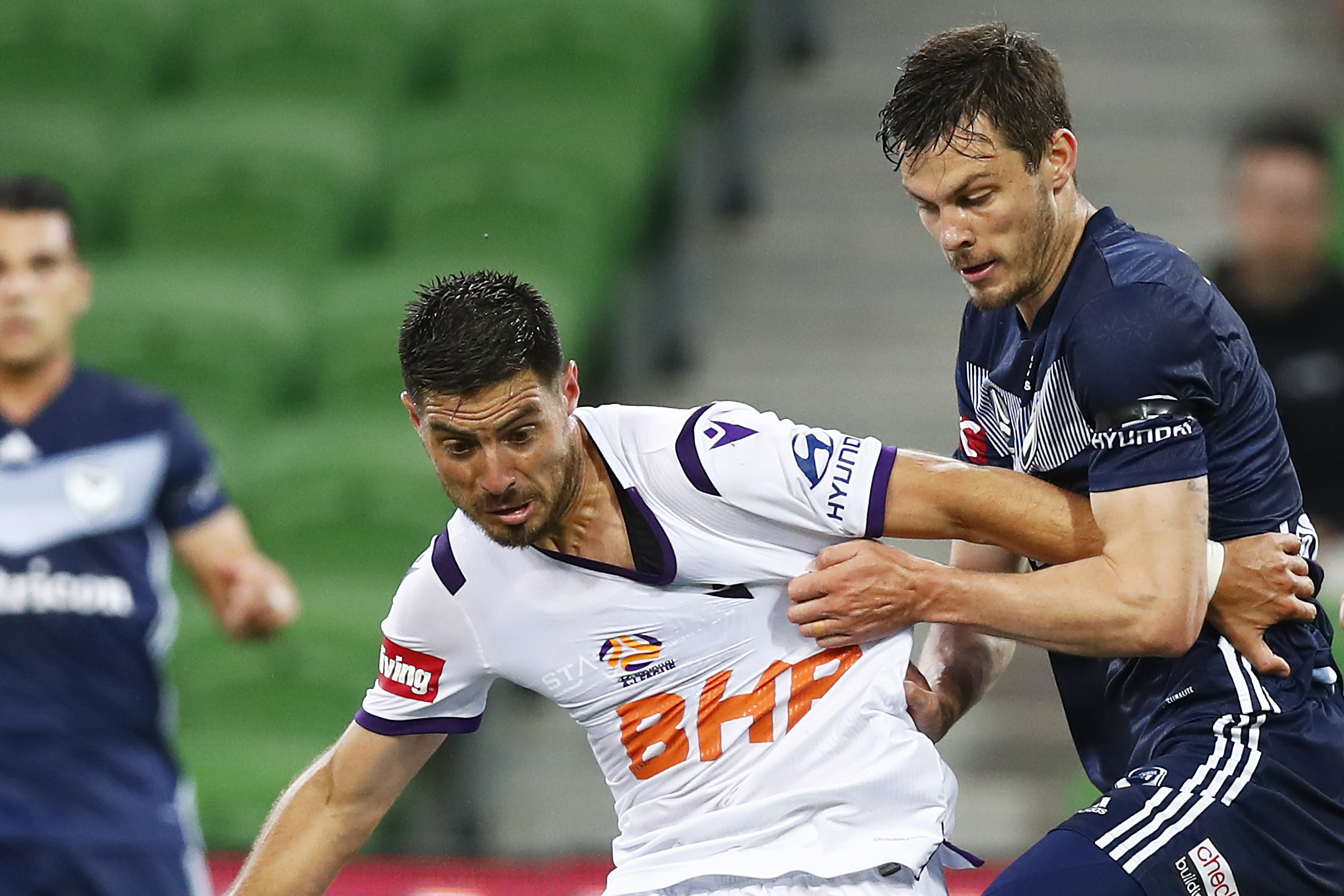 James Donachie gave Glory star Bruno Fornaroli no breathing space on Friday night