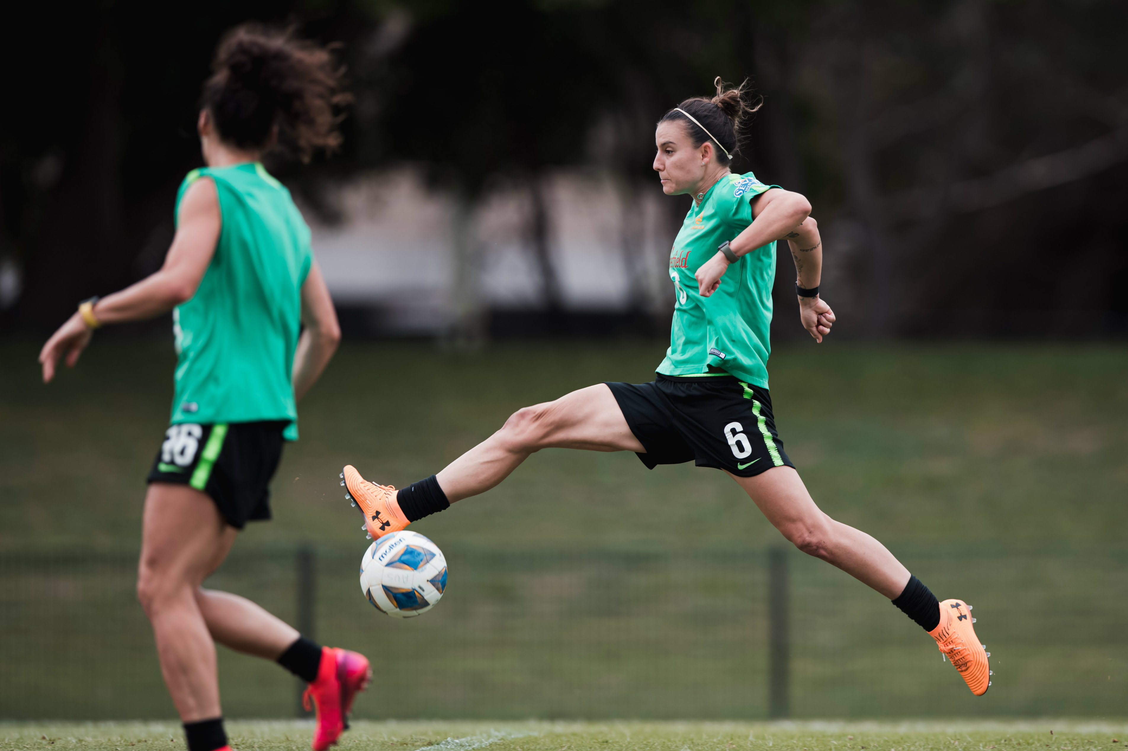 Chloe Logarzo controls the ball during training on Tuesday