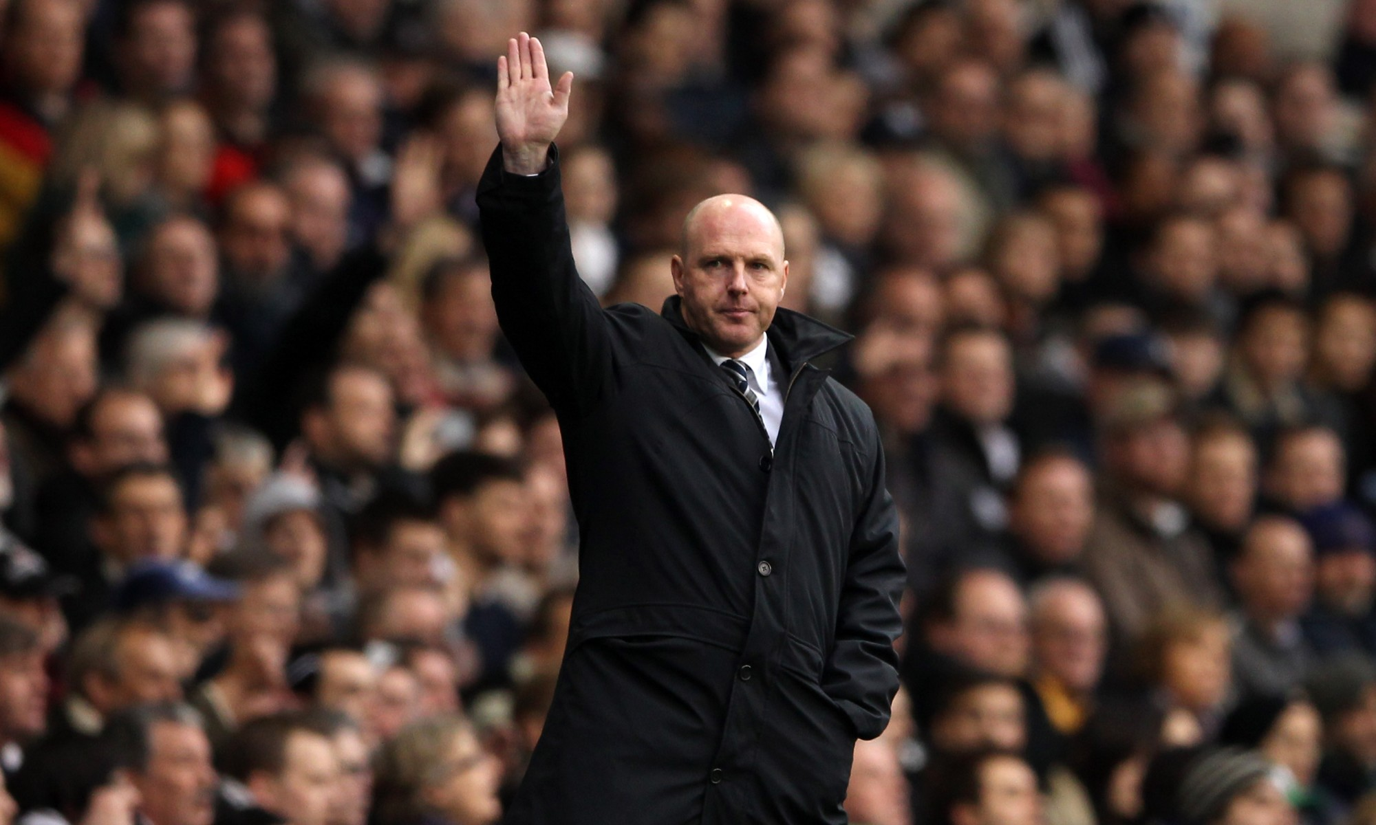 Steve Kean on the touchline during his time in charge of Blackburn Rovers in the English Premier League.