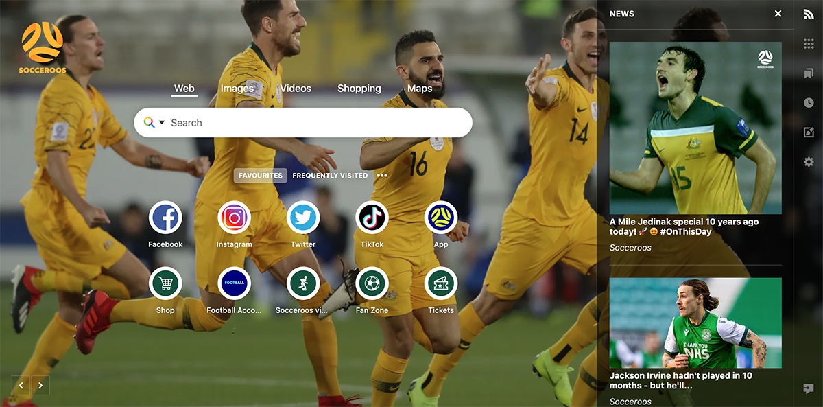 Socceroos browser example
