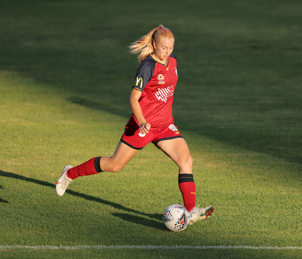 Matilda McNamara on the ball for Adelaide United