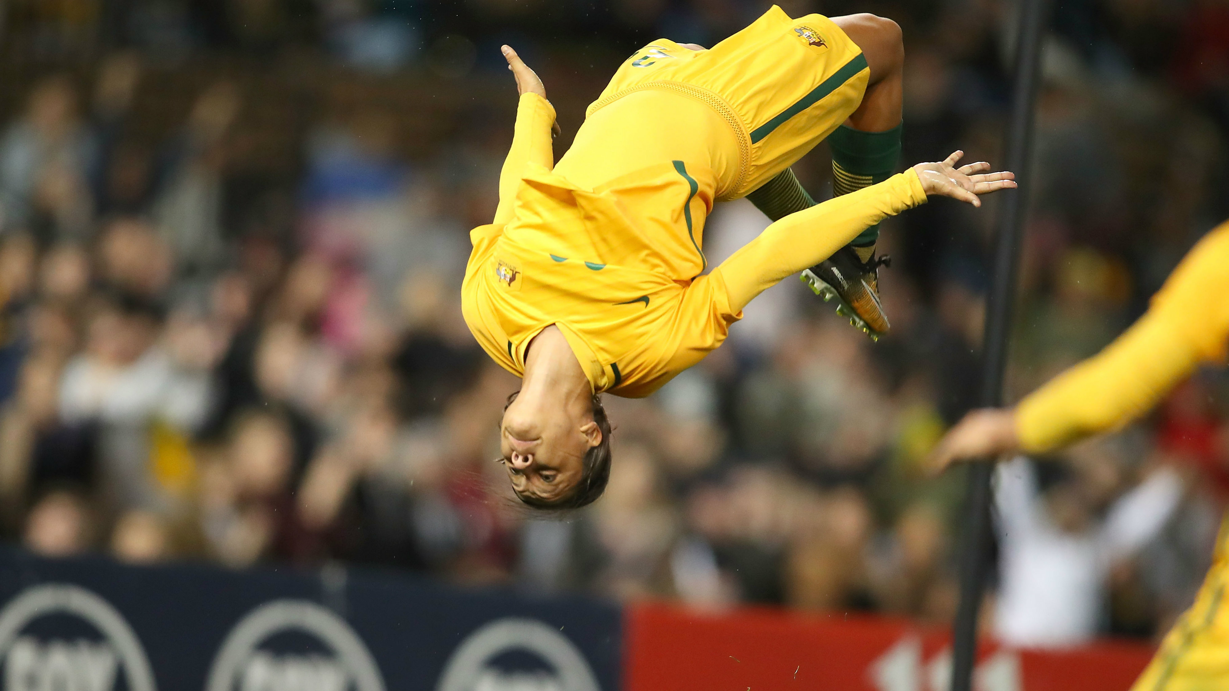 Sam Kerr pulls off a stunning back-flip after her second goal in the win over Brazil on Tuesday night.