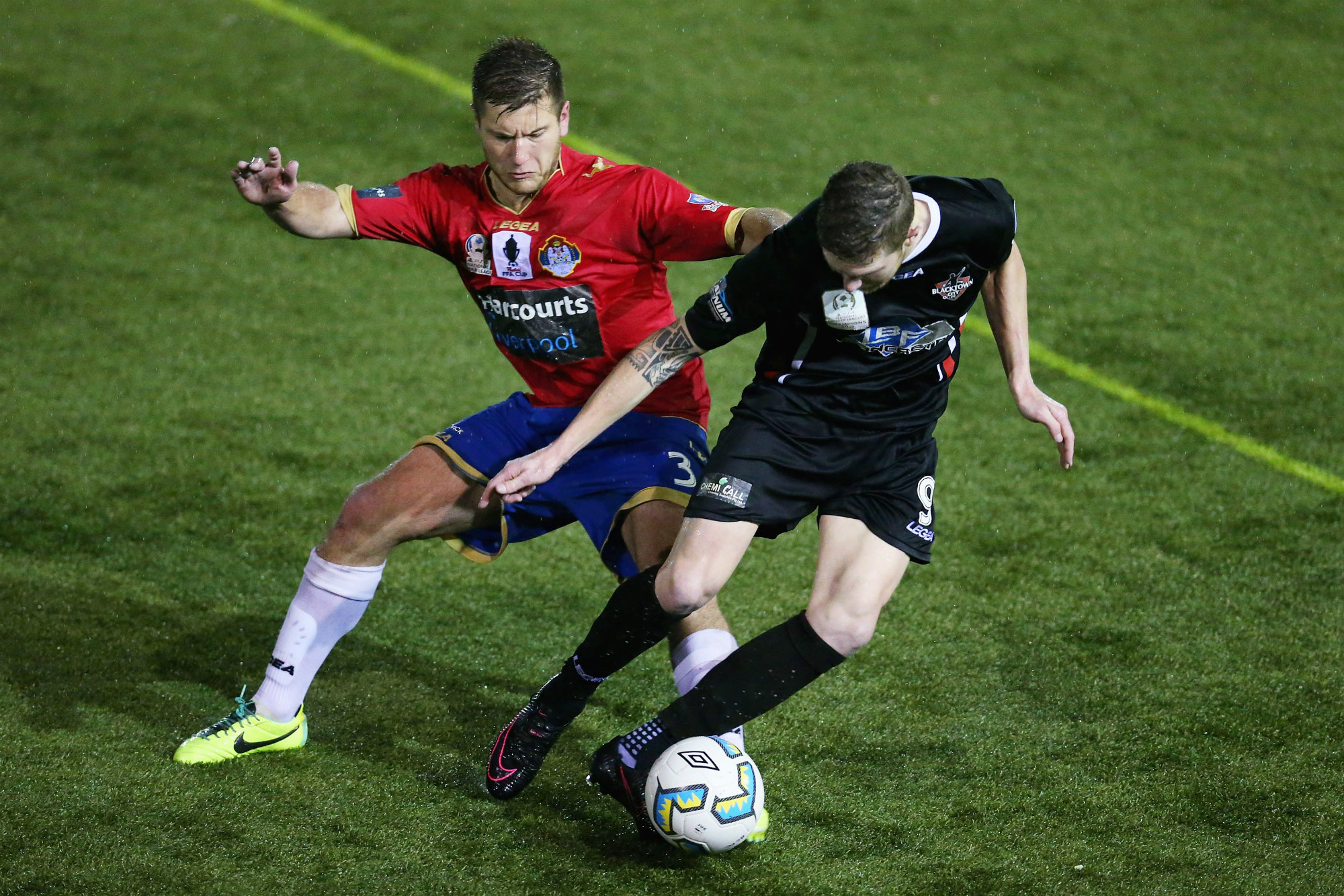 Bonnyrigg's David Vrankovic tackles Blacktown City's Joey Gibbs during the FFA Cup 2016 Round of 16.