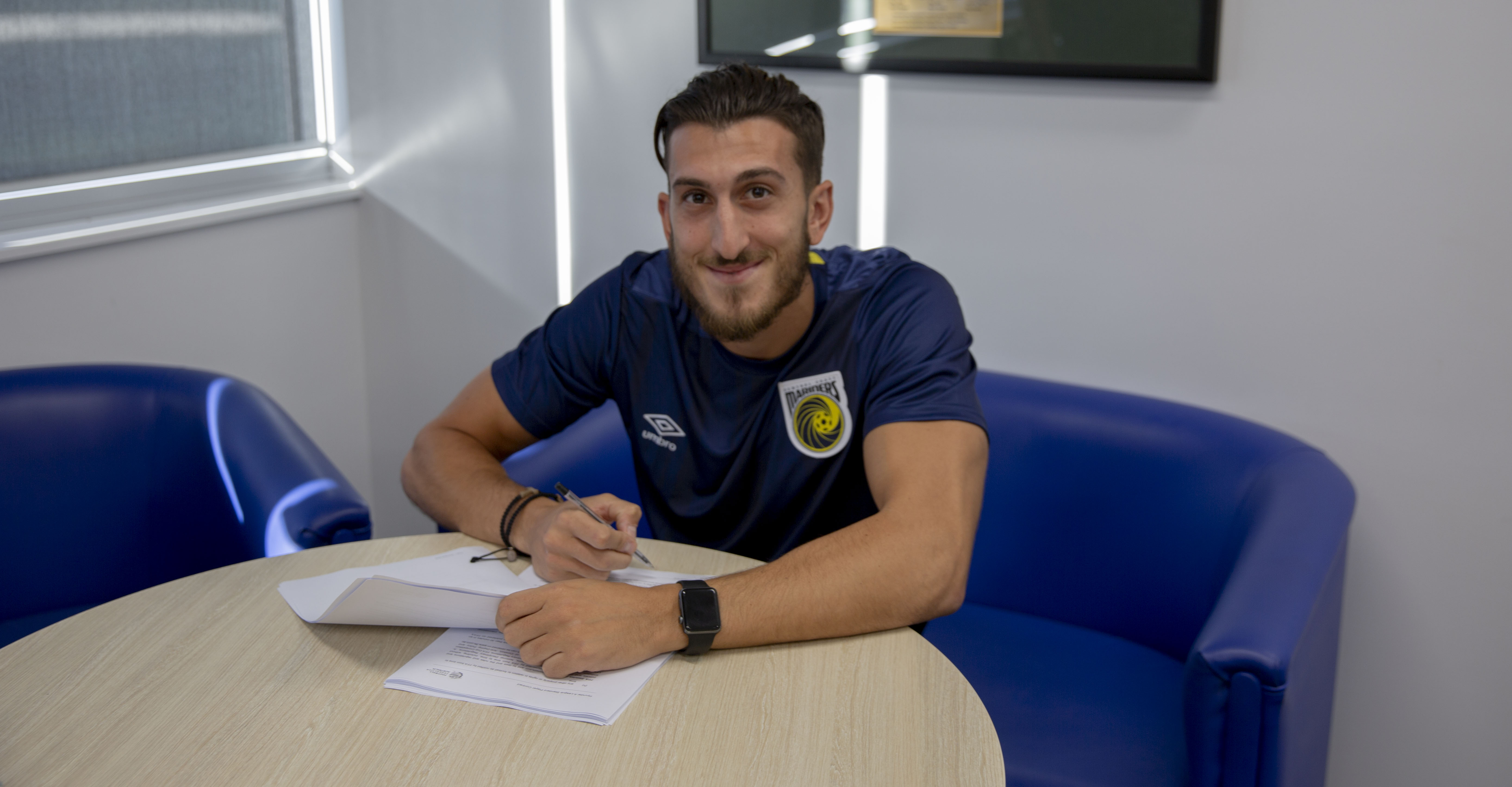 Giancarlo Gallifuoco signs for the Central Coast Mariners