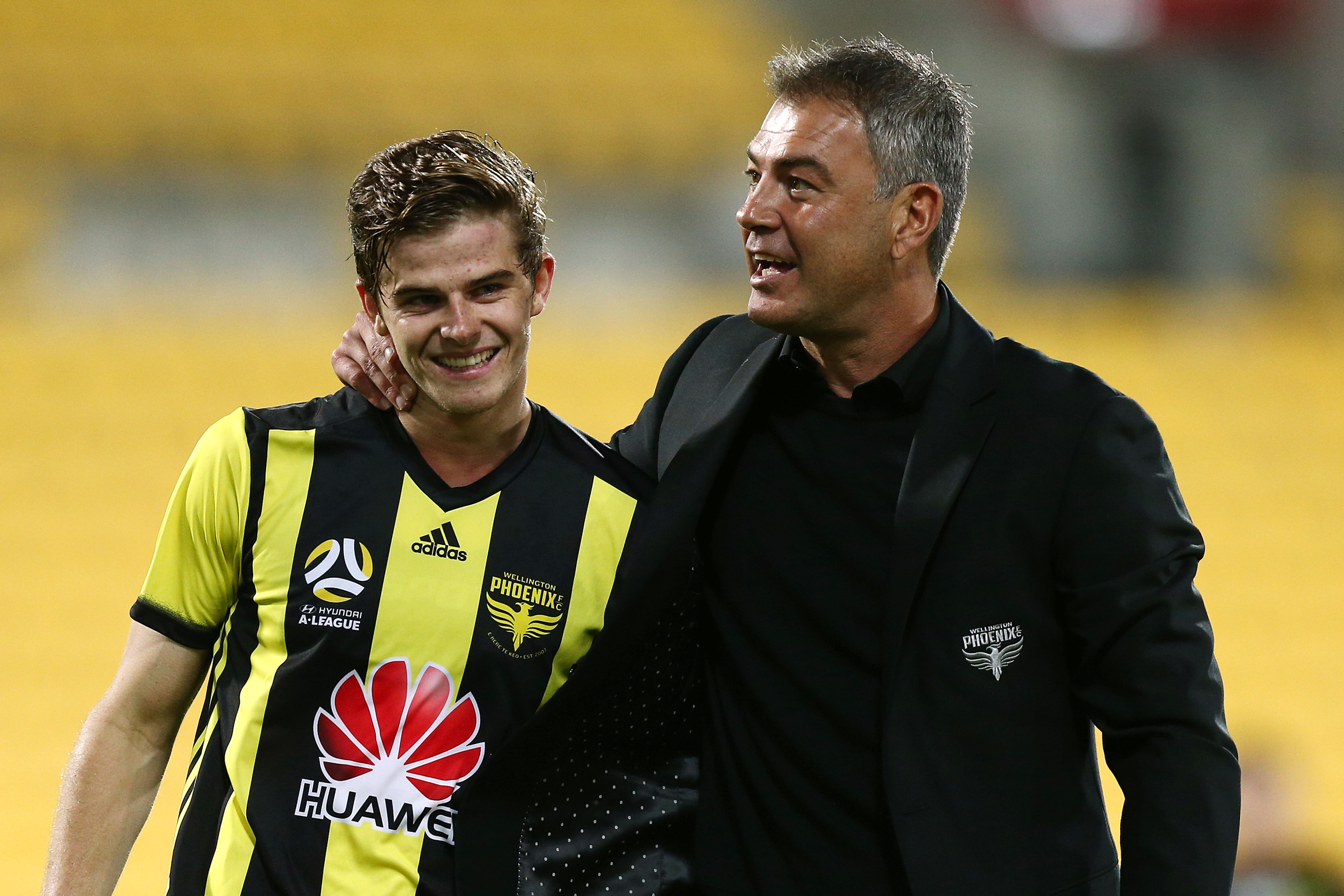 Alex Rufer with Head Coach Mark Rudan After 1-0 Win Over Melbourne City