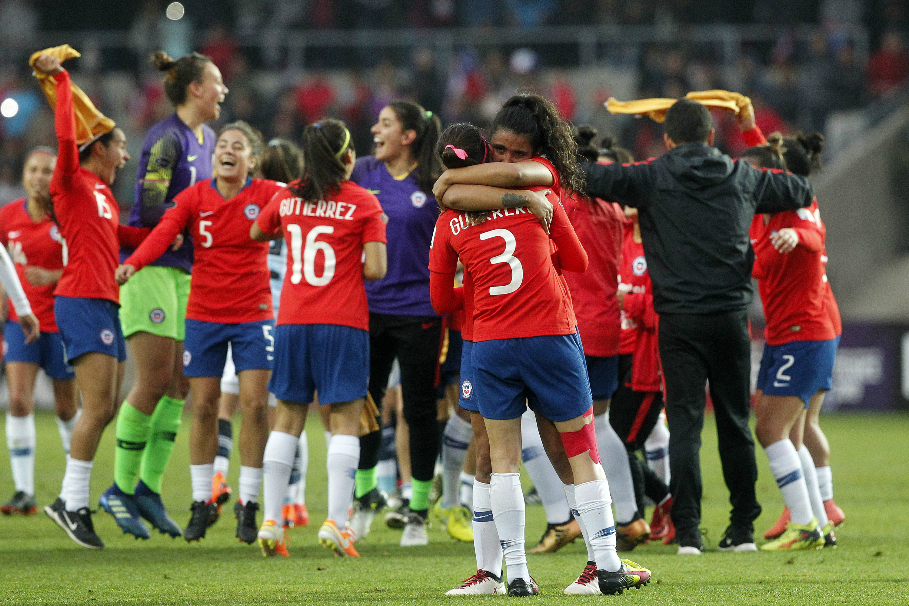 Chile celebrating World Cup qualification