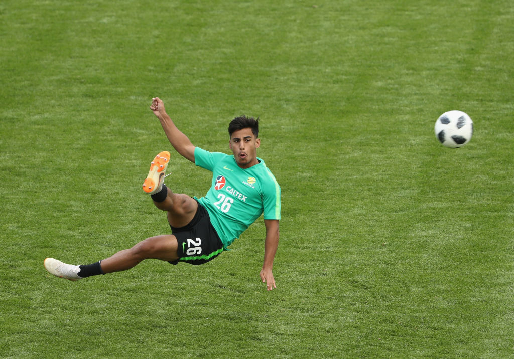 Daniel Arzani attempts an acrobatic finishing in a shooting exercise