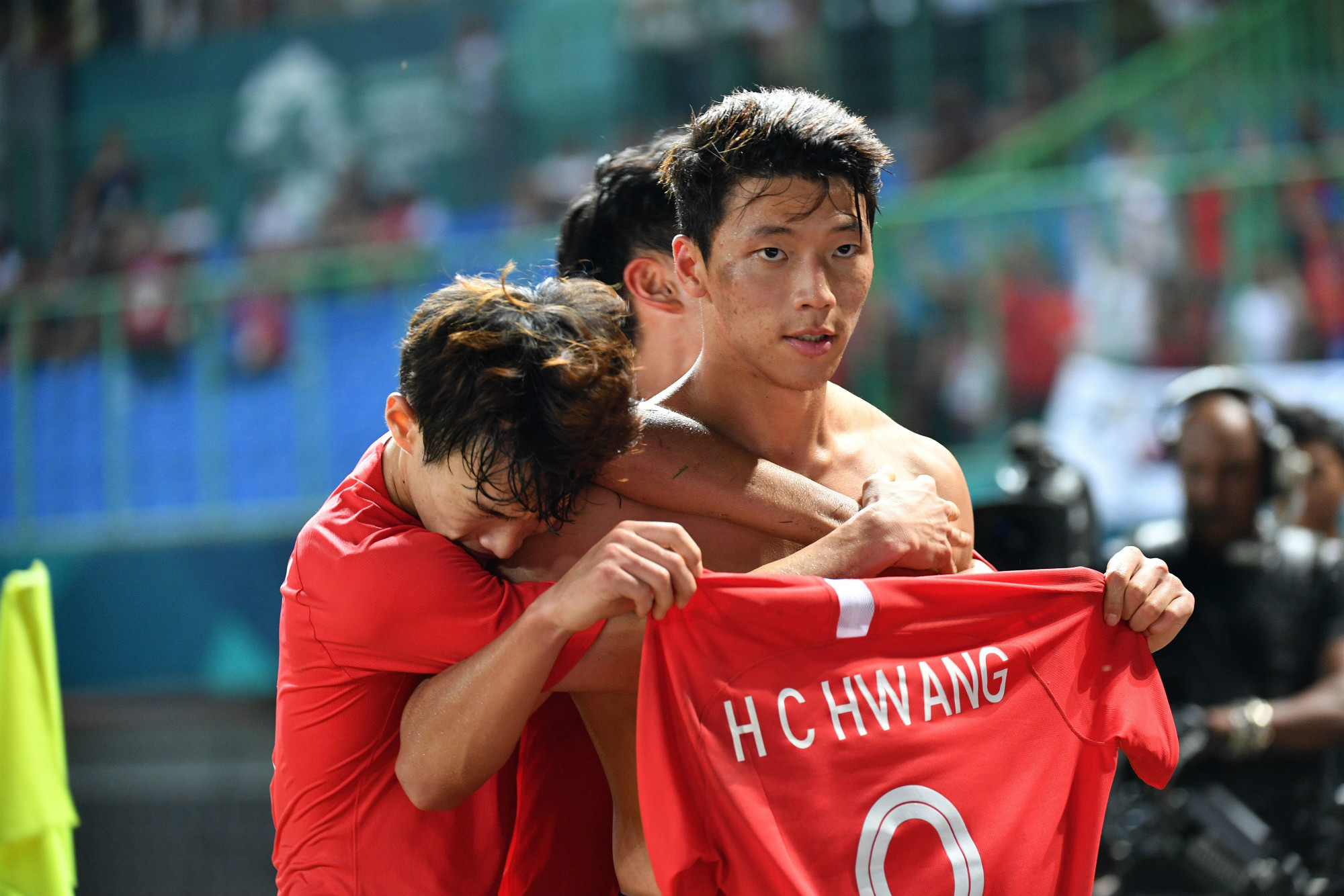 Hwang celebrates at the Asian Games