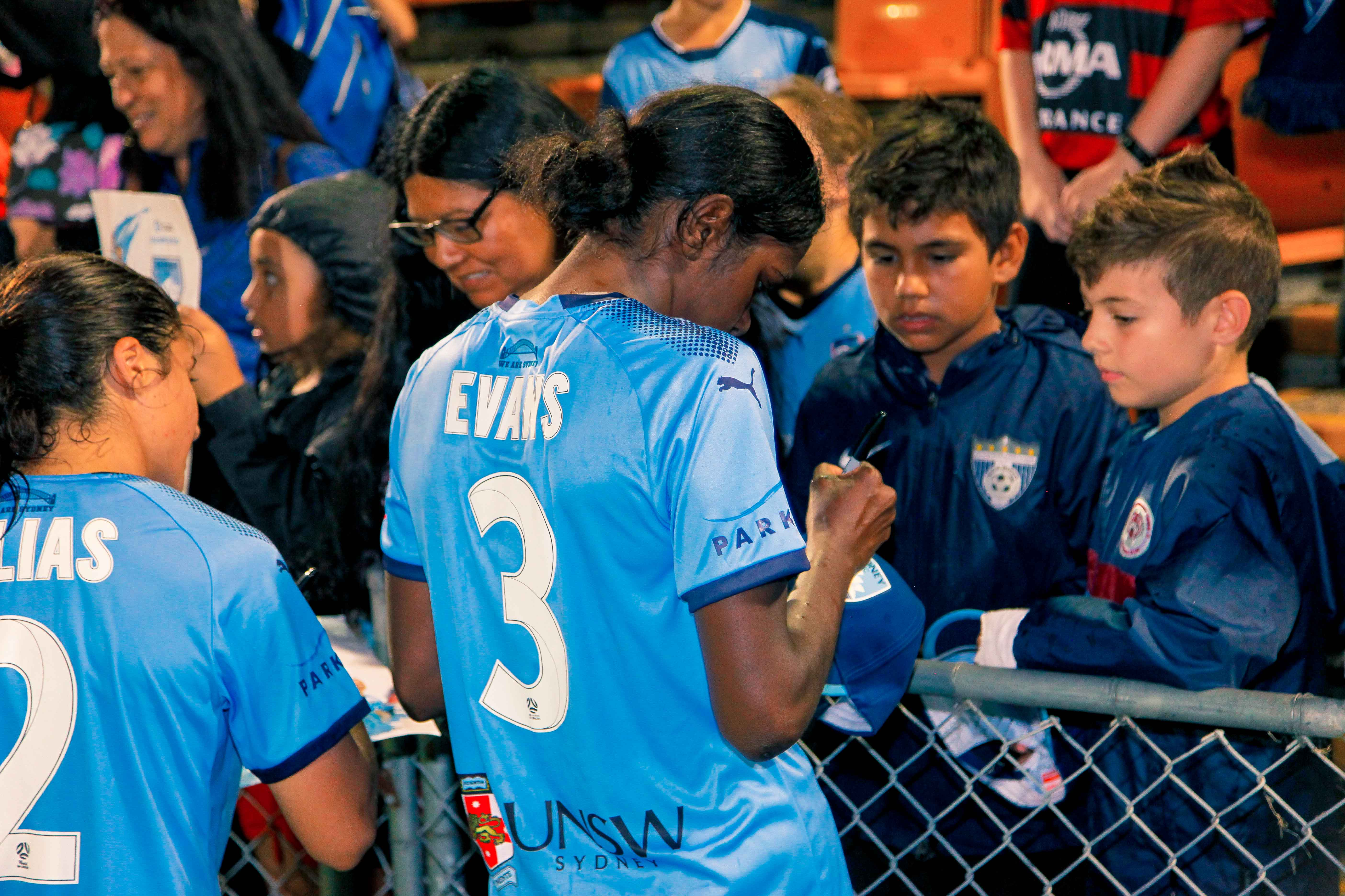 Evans signs autographs following her Westfield W-League debut