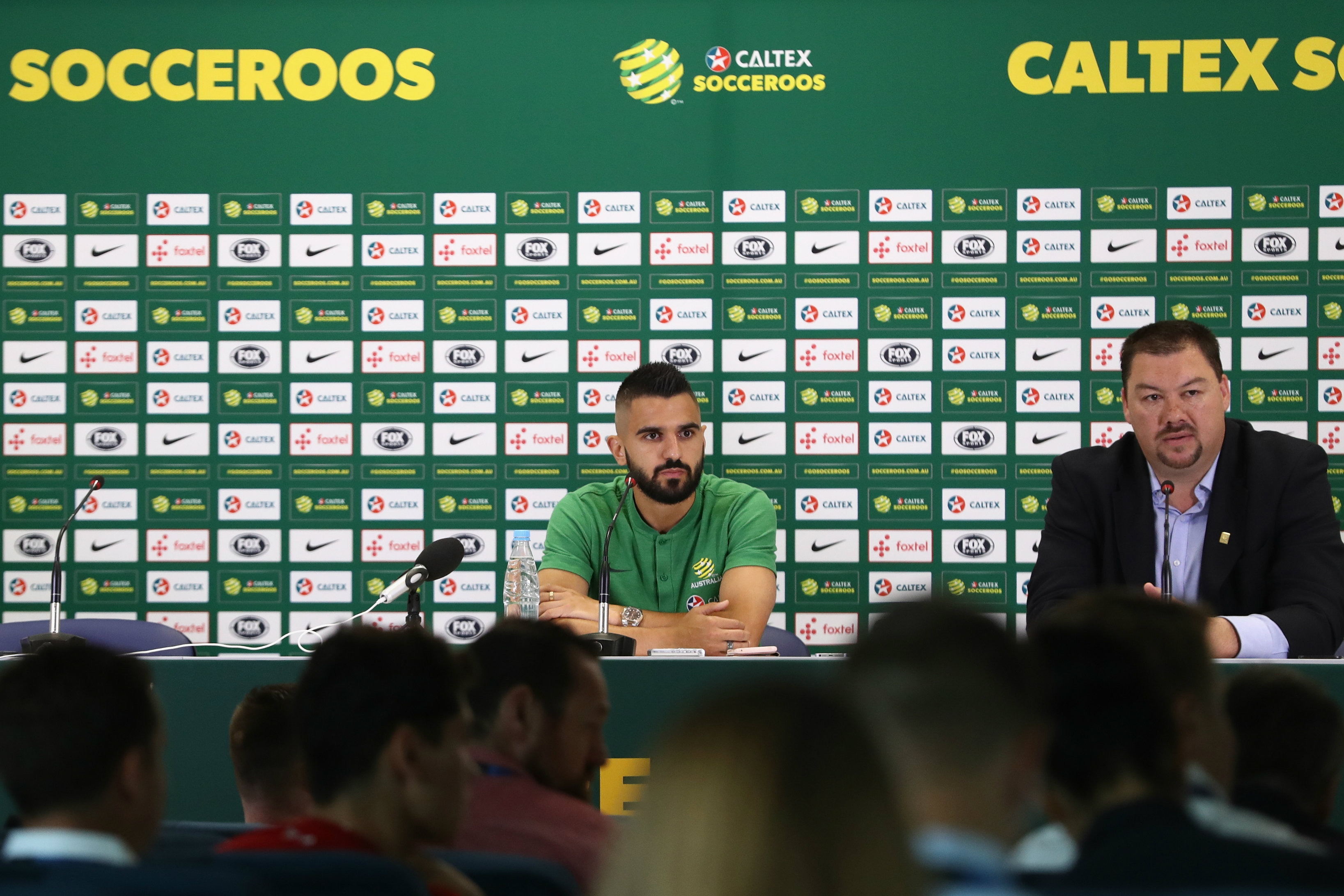 Aziz Behich fronts the press in Kazan.