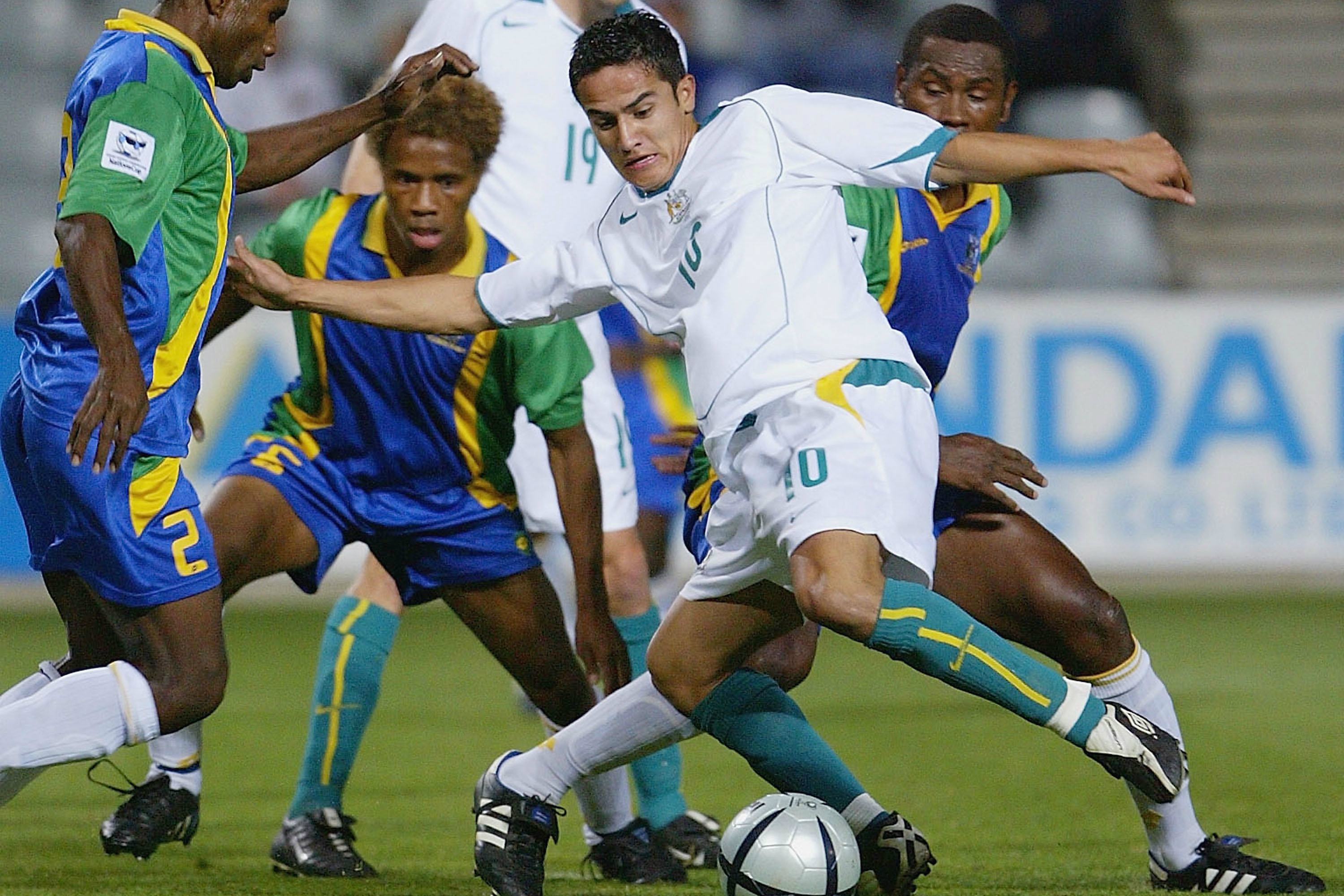 Tim Cahill in action for the Socceroos at the 2004 OFC Nations Cup.