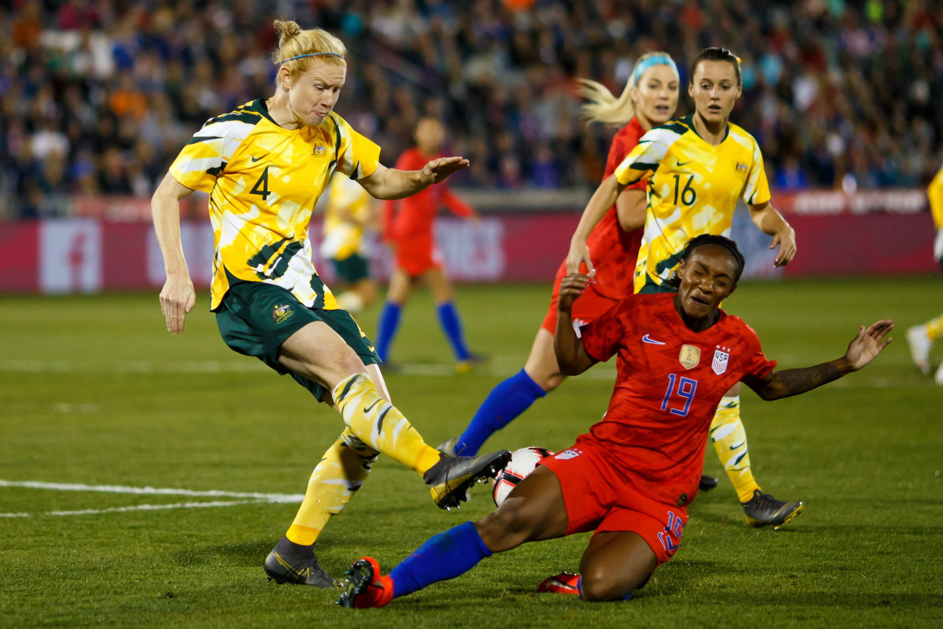 Clare Polkinghonre in action in the Westfield Matildas' last international against the USA