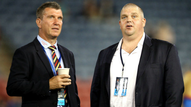 Jets coach Phil Stubbins with owner and chairman Nathan Tinkler.