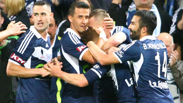 Victory players celebrate Oliver Bozanic's opener.