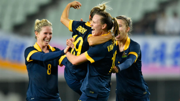 Matildas midfielder Katrina Gorry celebrates scoring against DPR Korea in Rio Games qualifying.