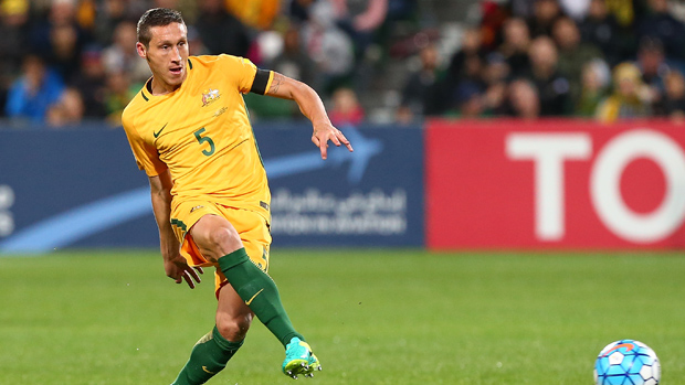 Mark Milligan on the ball during the Socceroos' 2-0 win over Iraq.