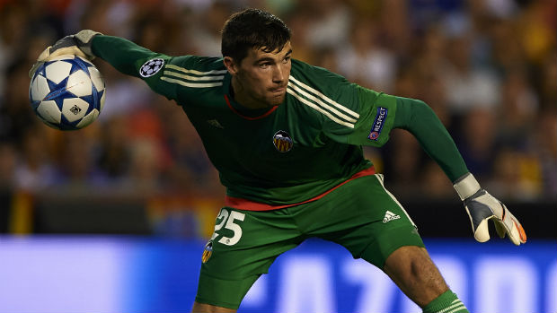 Goalkeeper Mat Ryan in possession for Valencia during their UEFA Champions League tie against Monaco.
