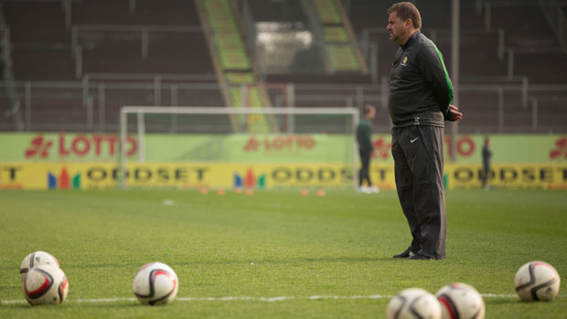 Coach Ange Postecoglou oversees training ahead of Germany clash