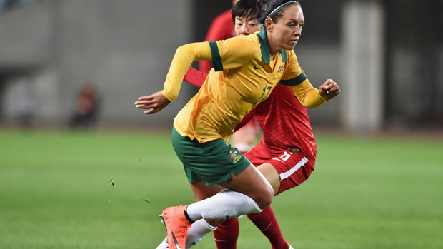 Kyah Simon on the ball during Australia's 1-1 draw with China.