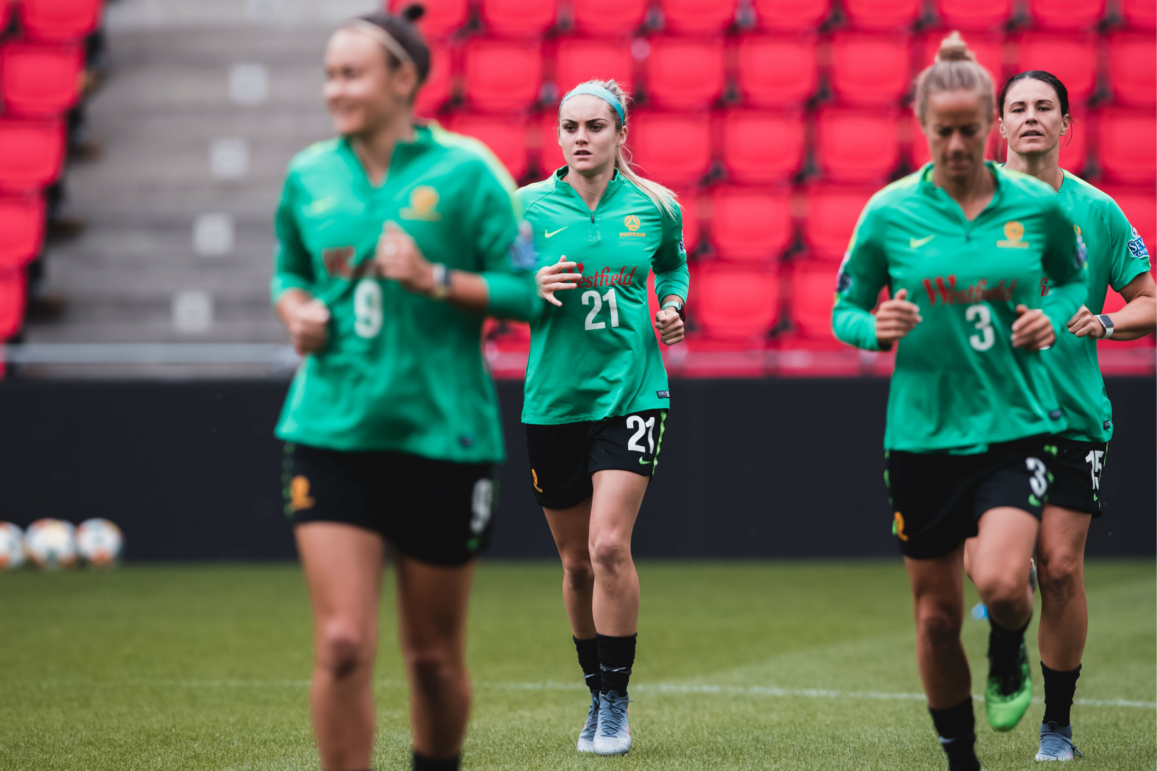 The Matildas had their first session in France at the Stade Municipal St. Amand Les Eaux