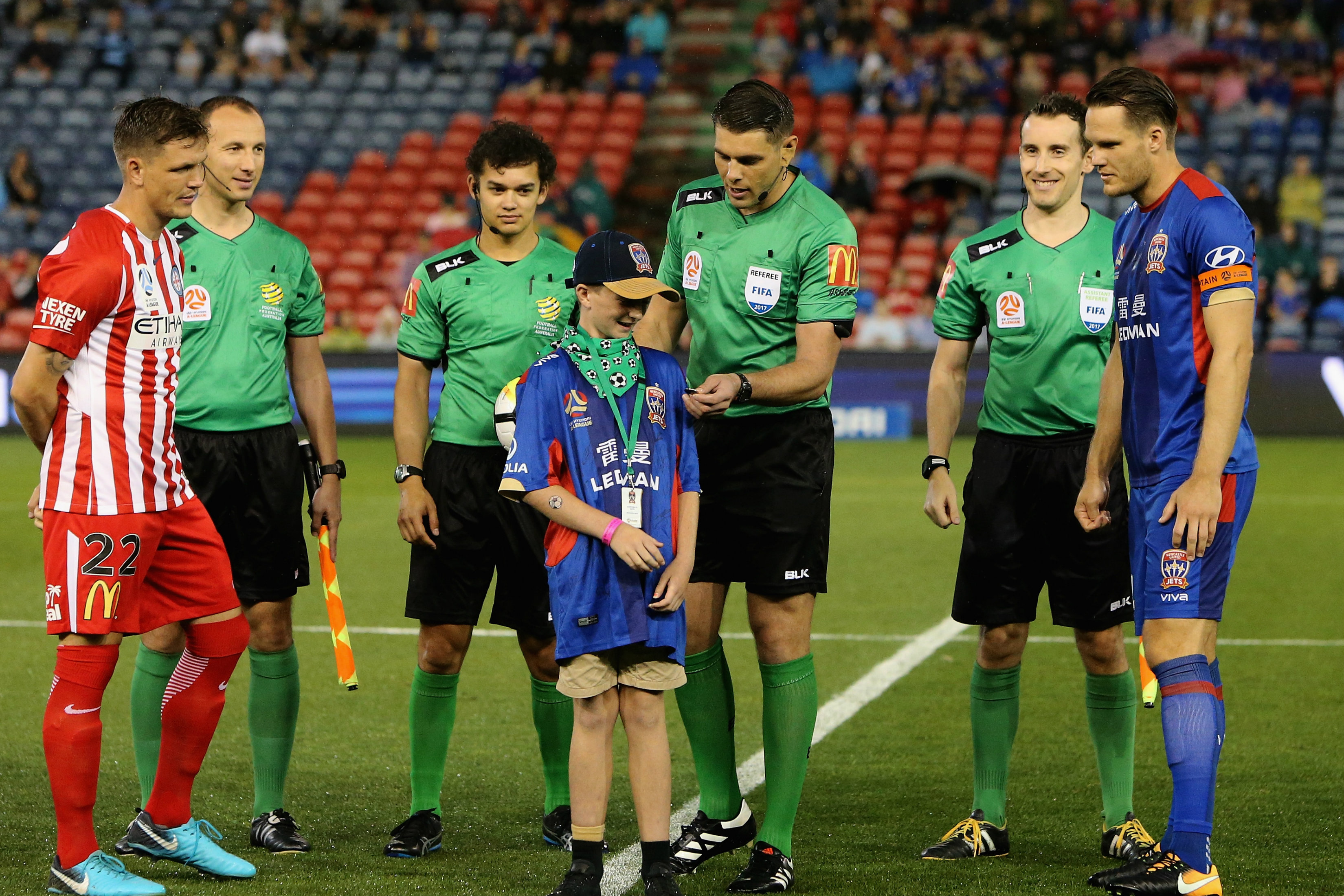 Shaun Evans with the skippers before last season's Semi Final between Newcastle Jets and Melbourne City