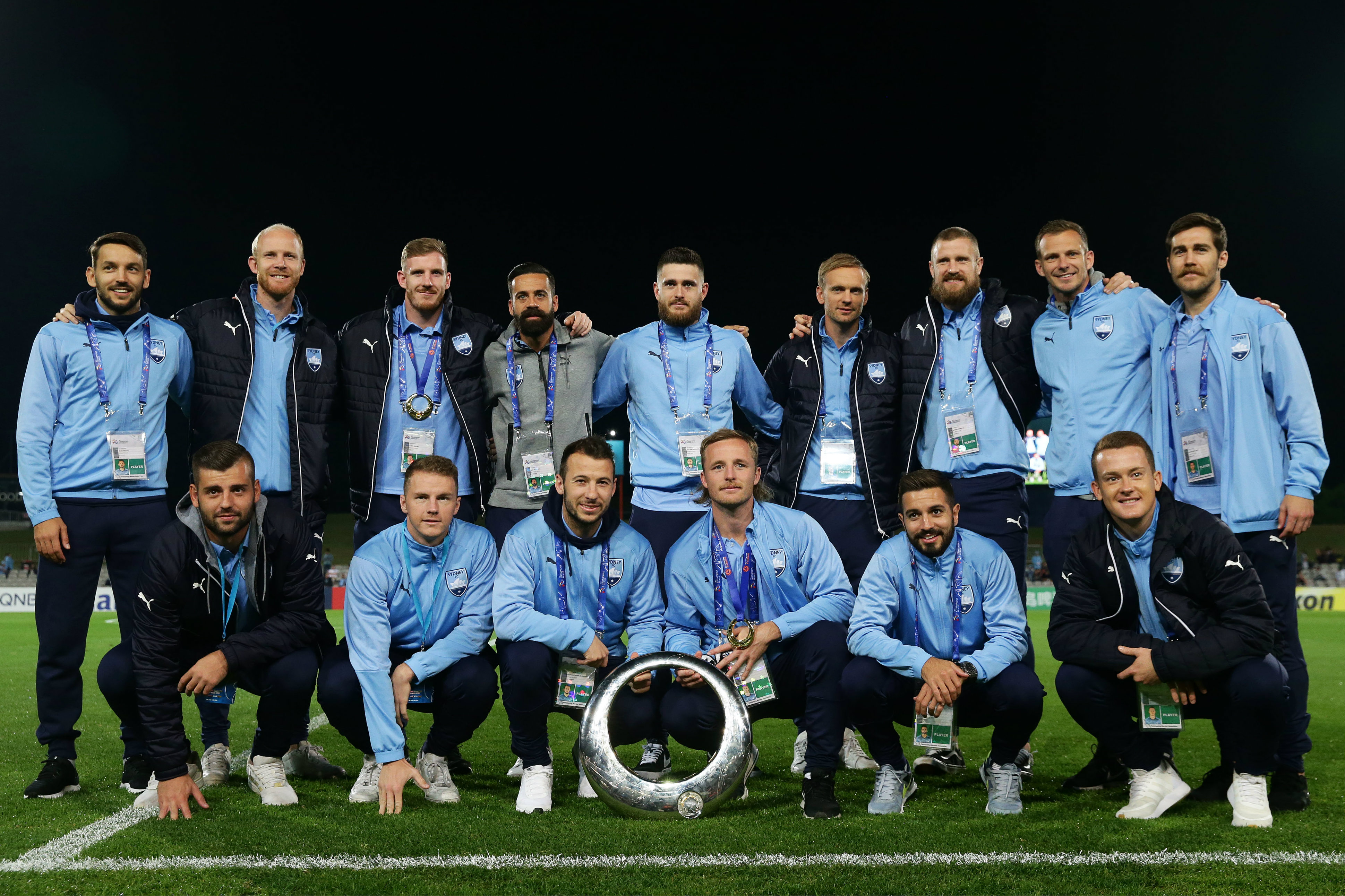 Sydney FC's Grand Final winning team were presented to the crowd before kick-off