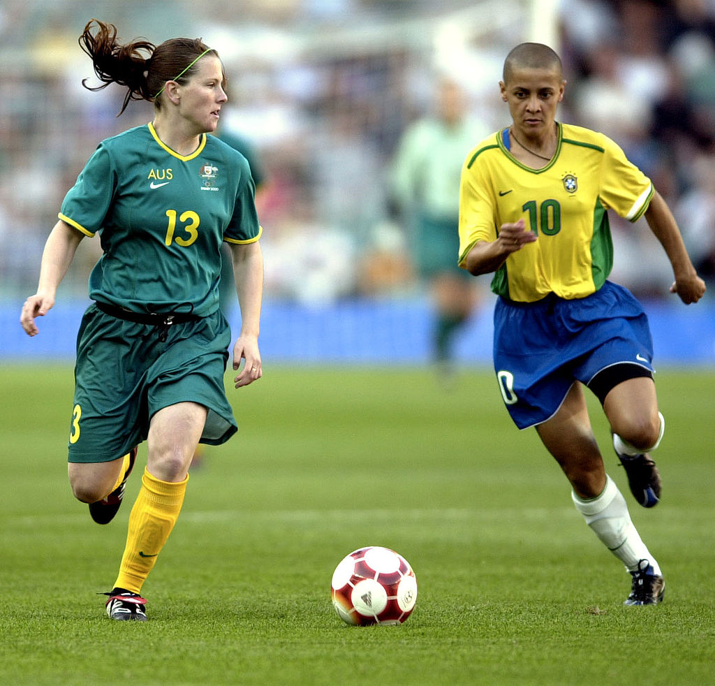 Ferguson taking on Brazil at Sydney 2000 Olympics