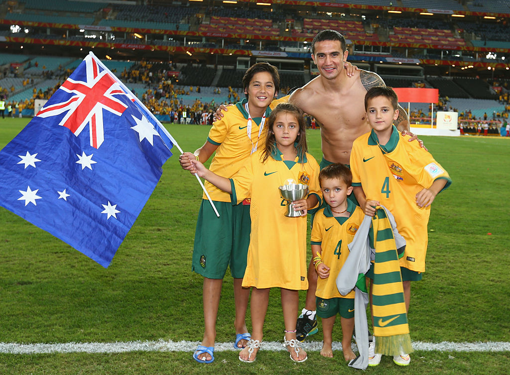 Cahill celebrates the 2015 AFC Asian Cup success