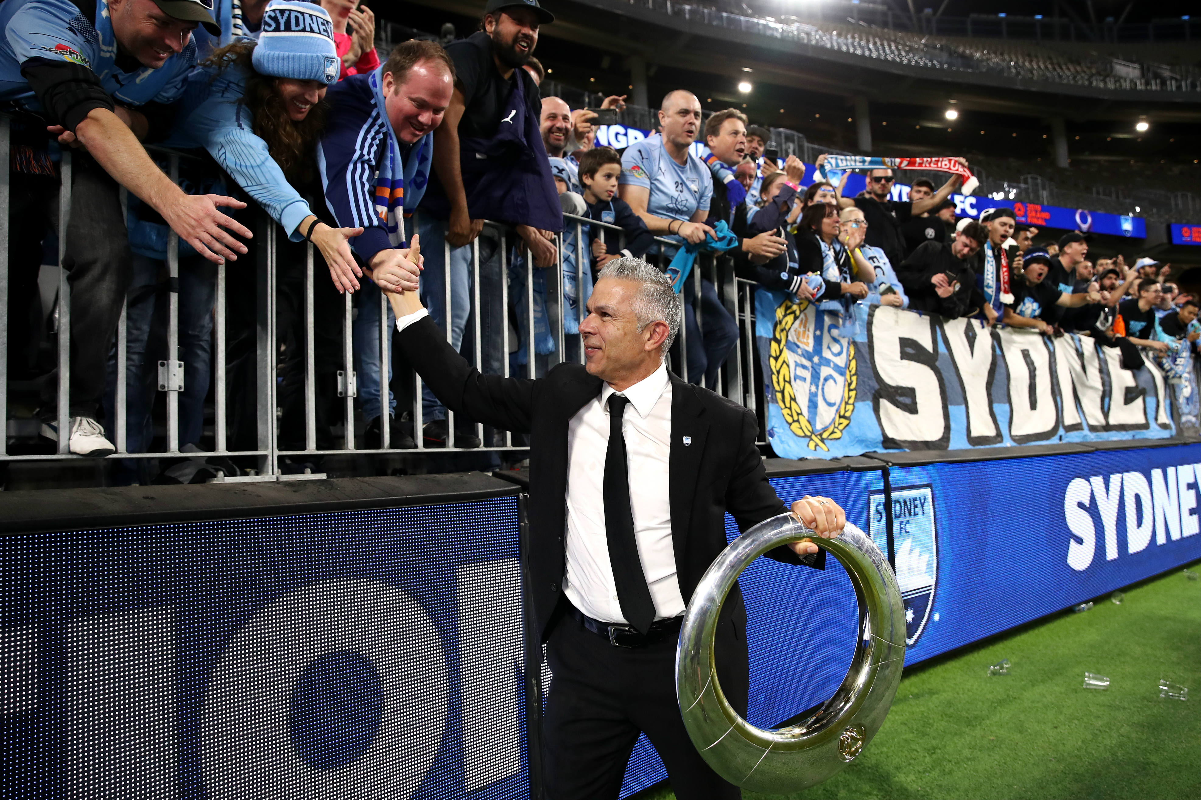 Sky Blues boss Steve Corica with the fans after a dream rookie season as head coach