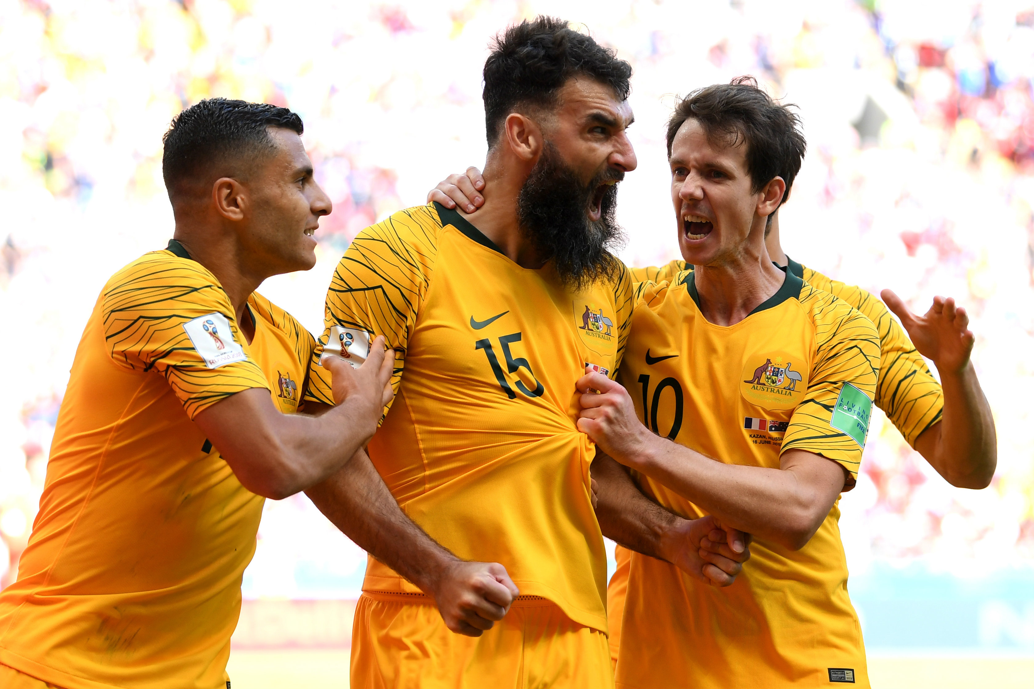 Caltex Socceroos teammates get around Jedinak after his penalty against France.