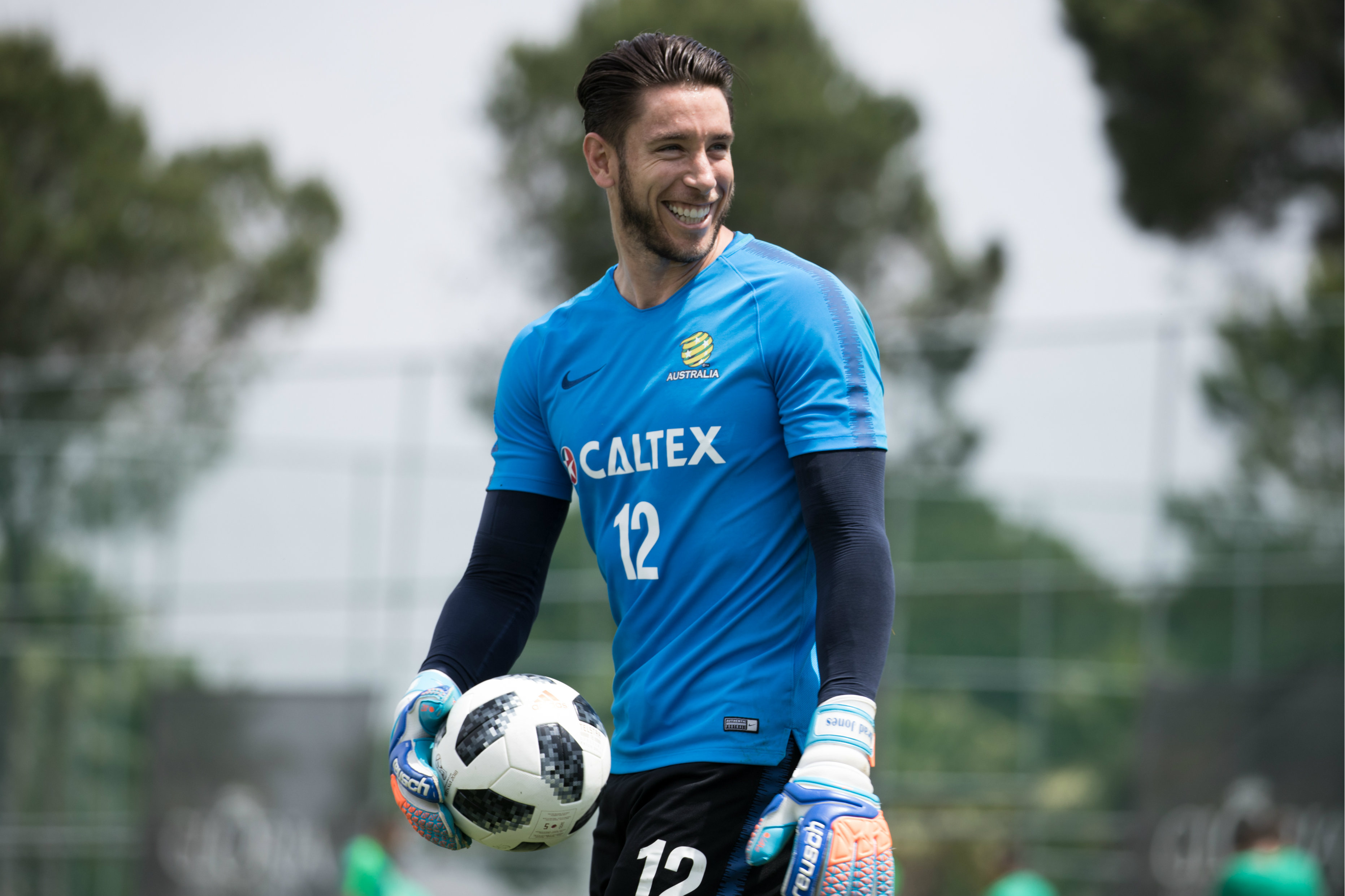 Keeper Brad Jones was enjoying himself in training.