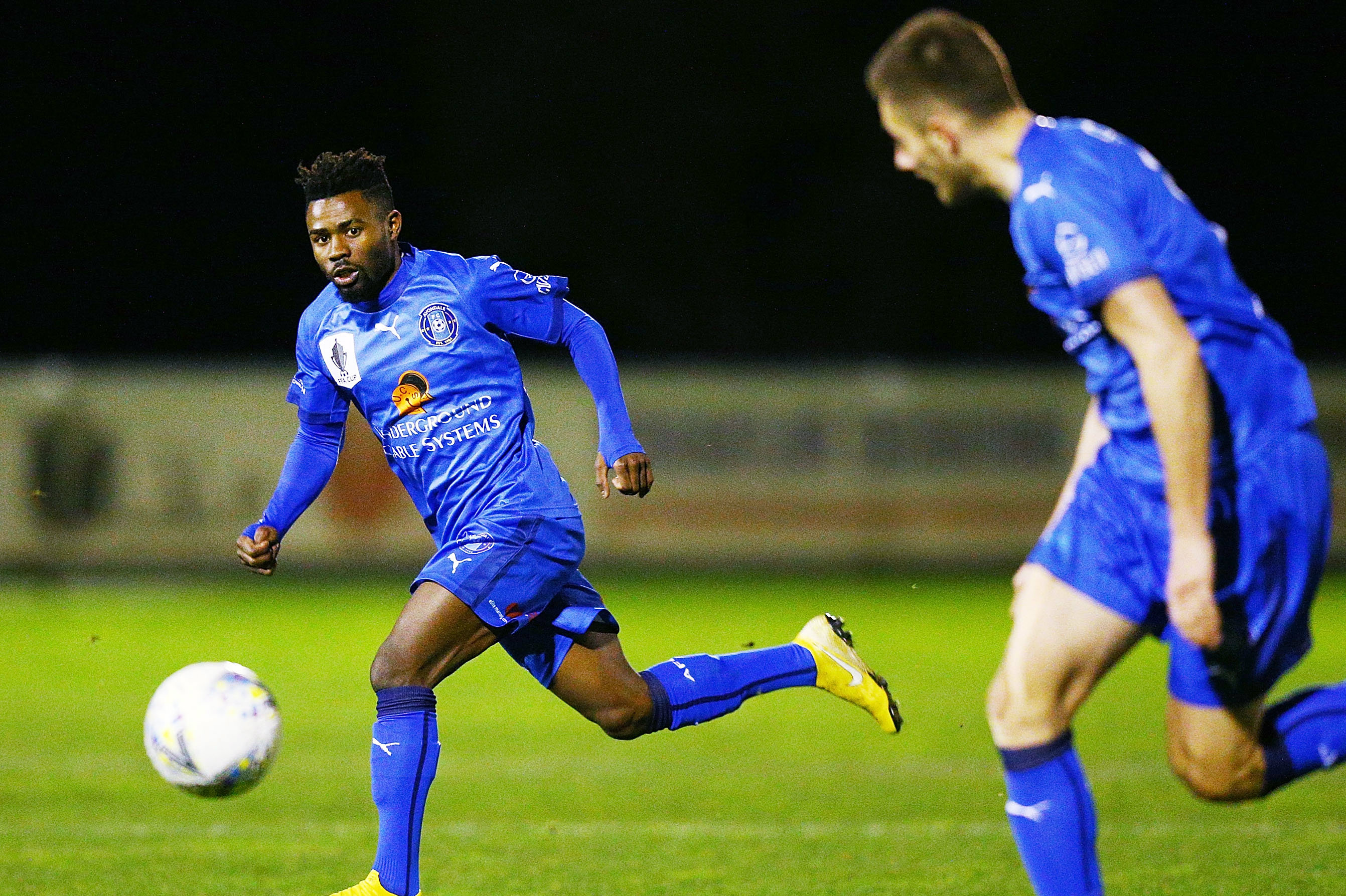 Elvis Kamsoba in action in the FFA Cup.