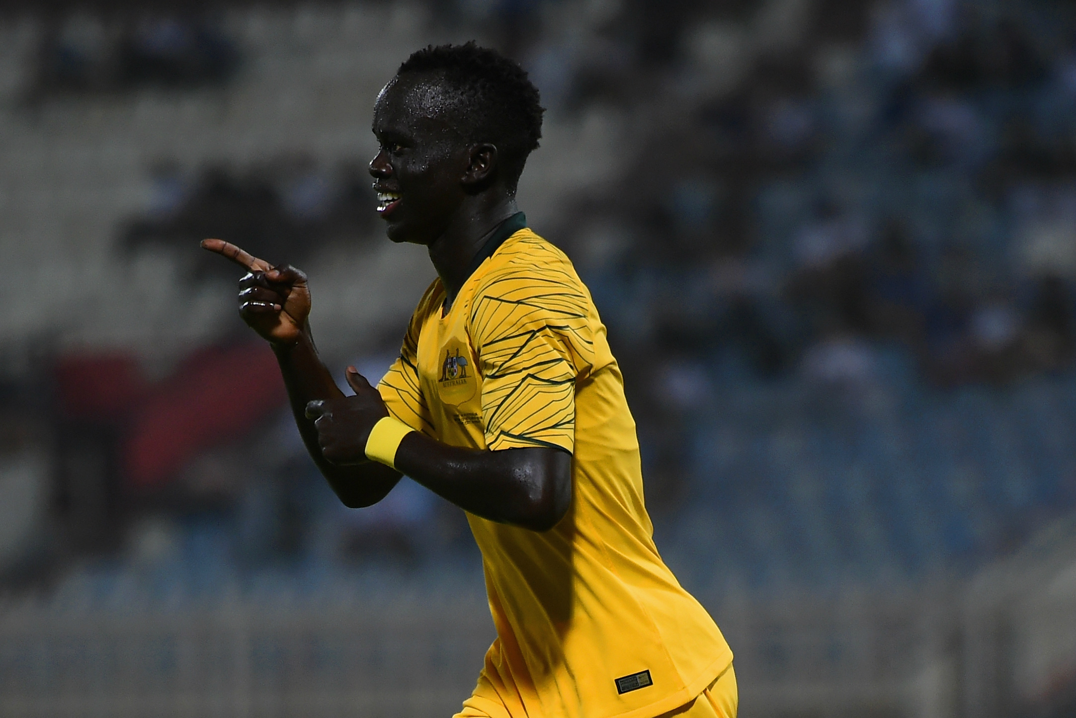 Awer Mabil after scoring on his Caltex Socceroos debut.