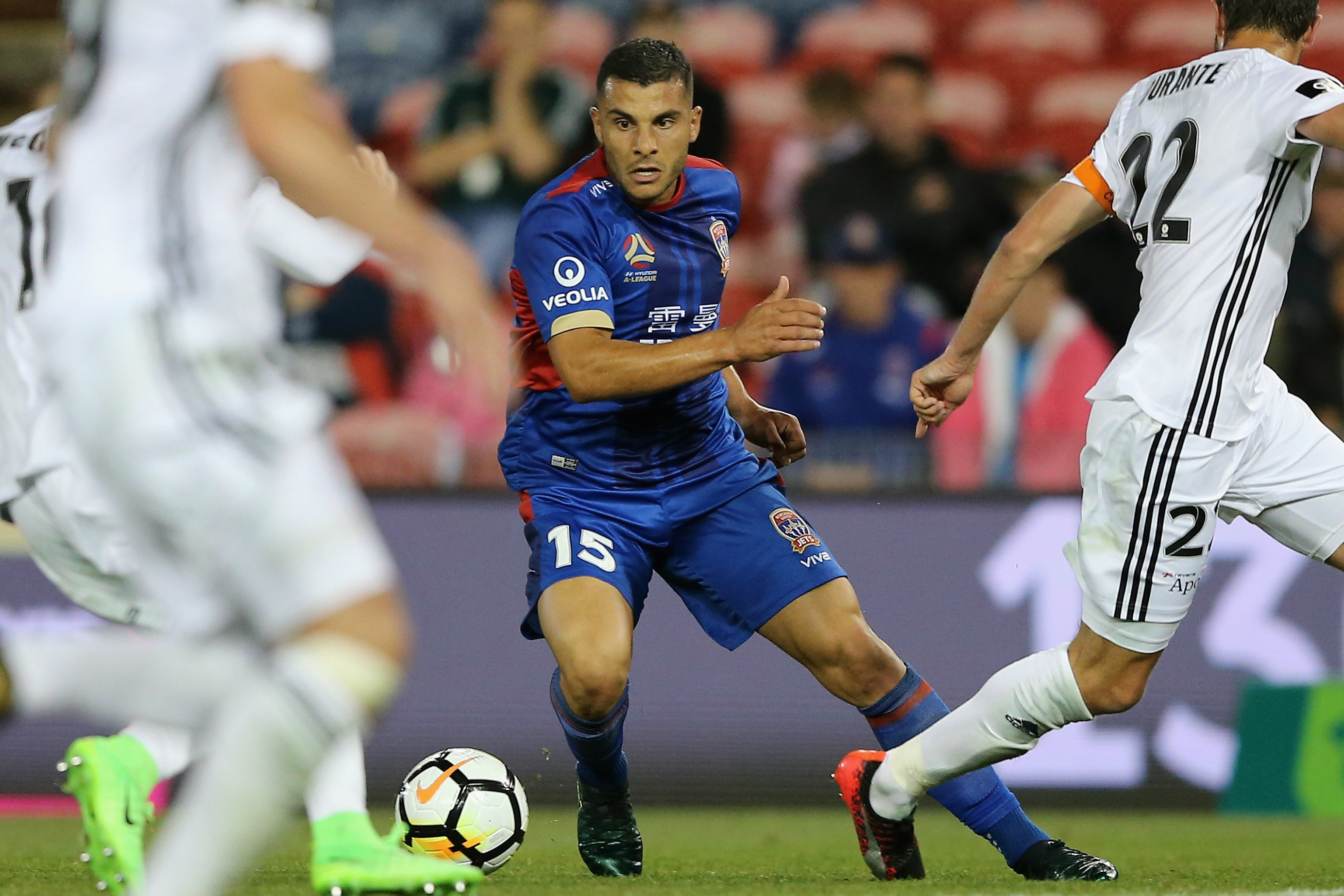 Andrew Nabbout tormented the Phoenix defence all night in the Hunter.