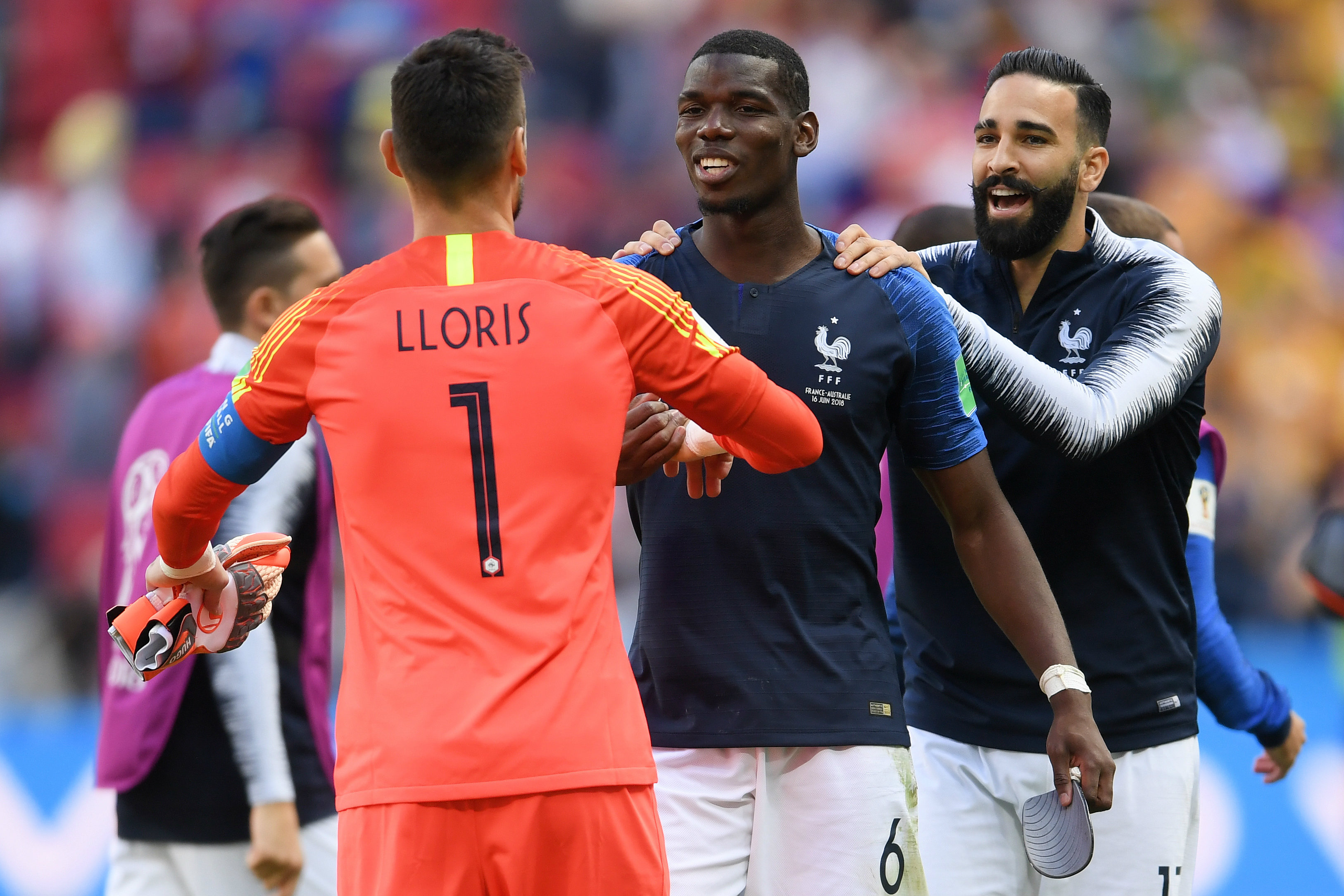 Pogba and his France teammates were all smiles after the win over the Socceroos.