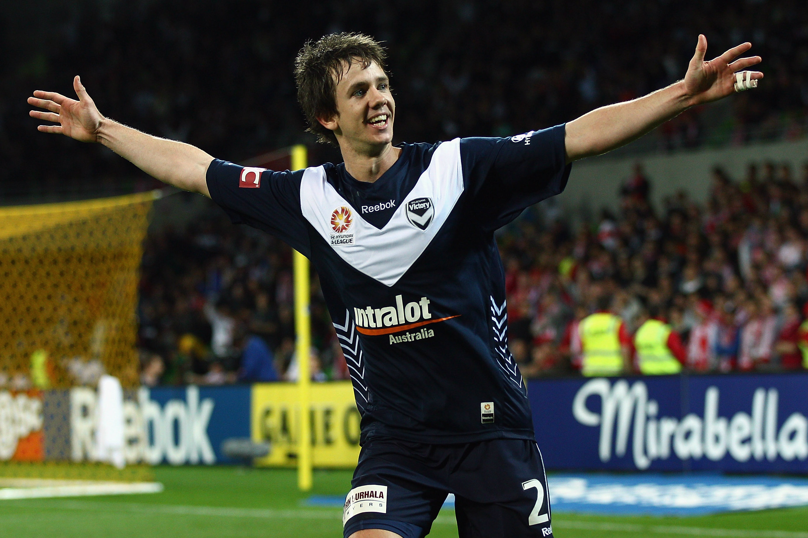 Robbie Kruse celebrates a goal during his first stint with Victory