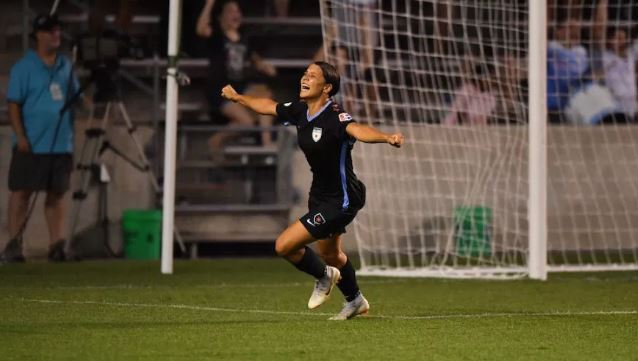 Sam Kerr celebrates one of her 16 goals in the NWSL this season. Pic courtesy of Red Stars website