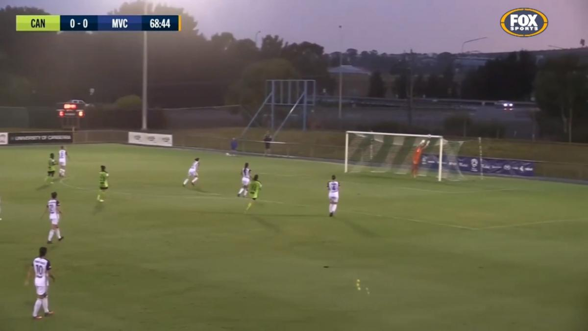 Galea strikes the crossbar with dipping, long-range belter