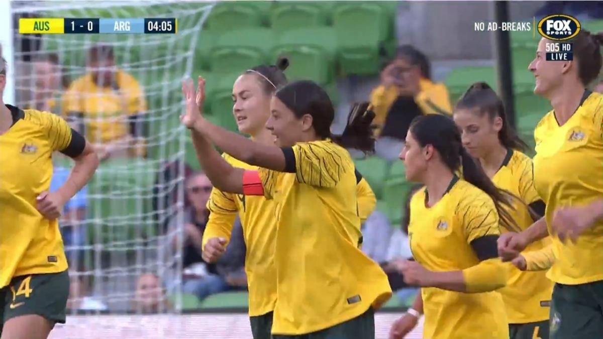 Sam Kerr kick starts the action in Melbourne