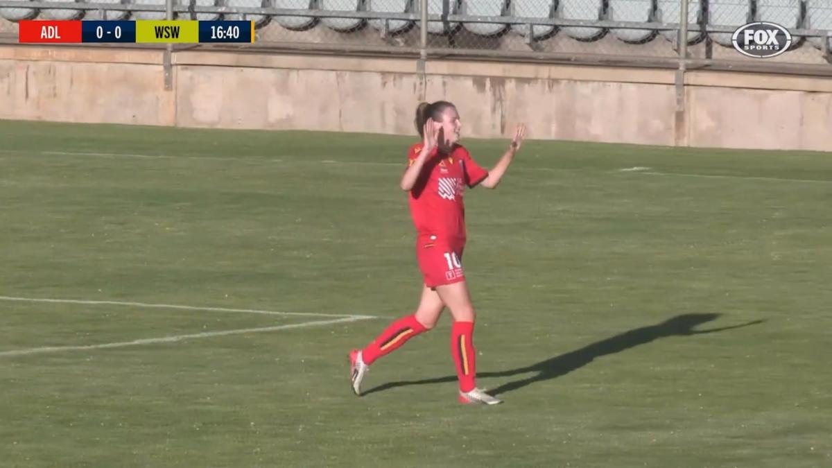 GOAL: Dawber opens the scoring in Adelaide