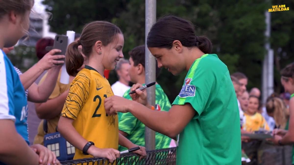 Behind the scenes from Westfield Matildas open training session in Newcastle