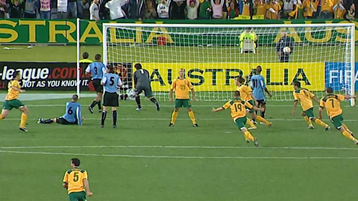 Mark Bresciano scores against Uruguay in FIFA World Cup 2006 play-off